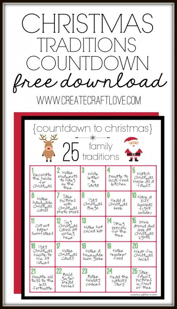 Christmas Traditions Printable to remind us to slow down and savor the holiday and Christmas season!  via createcraftlove.com