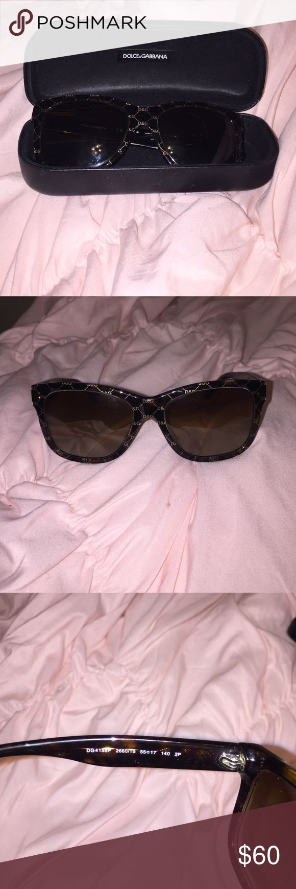 Dolce & Gabbana polarized sunglasses 100% authentic purchased from sunglass hut. Tortoise color with the D&G logo. No scratches and hardly any signs of wear. Comes with hard case. Dolce & Gabbana Accessories Sunglasses
