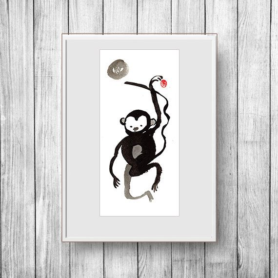 Happy New Year Card, 2016 Year of the Monkey zen painting, Chinese New Year, Zen Chinese Zodiac, japan art, red envelope, baby announcement by ZenBrush on Etsy https://www.etsy.com/listing/260261295/happy-new-year-card-2016-year-of-the