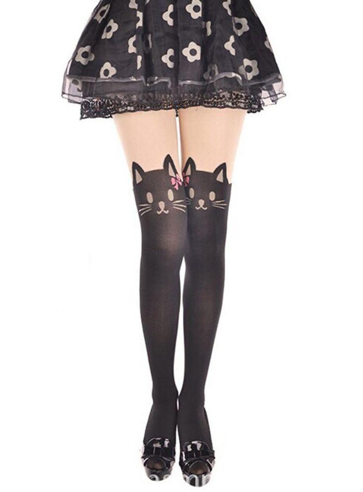 2015 бесплатная доставка сексуальные чулки милый мода колготки женщины япония мультфильм печатных кошка с розовым бантом колготки