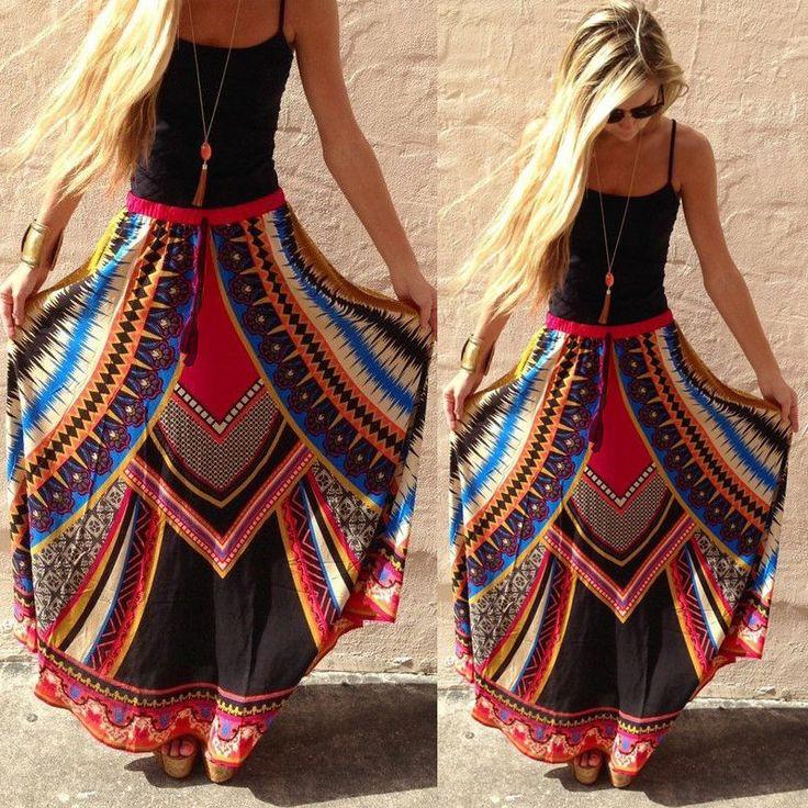 Damen Maxirock Strandrock Sommerrock Boho Langer Floral Rock Vintage Lang Kleid