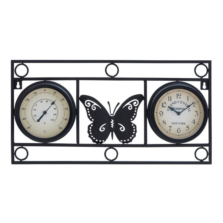 Outdoor Thermometers 75601: Benzara Metal Outdoor Rustic Outdoor Patio Butterfly Wall Clock And Thermometer -> BUY IT NOW ONLY: $45.89 on eBay!