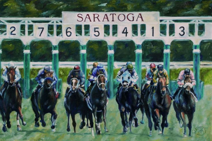 Out of The Gate by Rich Gabriel Saratoga Horse Race Track Art Sports Print | eBay