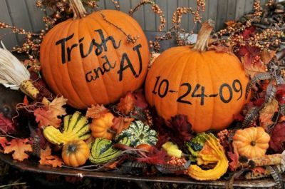 Fall themed bridal shower decoration. See more bridal shower themes and party ideas at www.one-stop-party-ideas.com