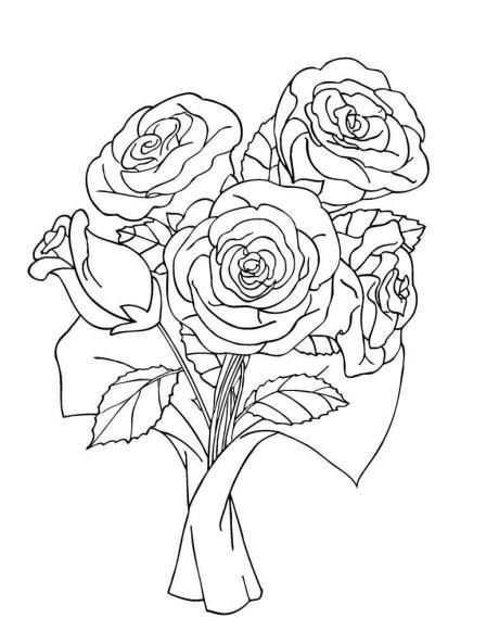 Bunch Of Rose Bouquet Coloring Pages Rose coloring pages
