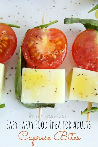 Easy Party Food Ideas for Adults Caprese Bites, Perfect for Holidays, Birthdays, Graduation, Summer. Make Ahead recipe, Healthy snack food