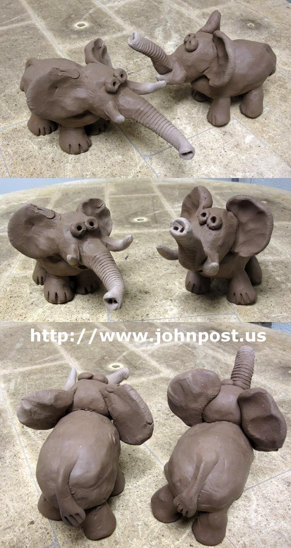 Clay Elephants with textured trunks