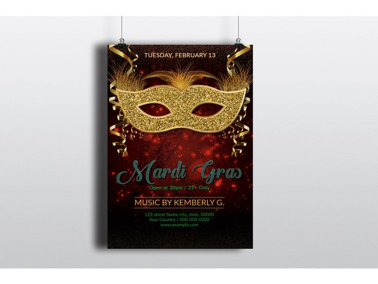 Mardi Gras Flyers:   Size: 4x6 in Pages: Valentines Flyer Resolution: 300 dpi Color mode: CMYK Bleed: 0.25 in Working file: Photoshop cs2 Microsoft Word. Files included: Photoshop cs6 Microsoft Word(docx).  ETSY  CREATIVEMARKET