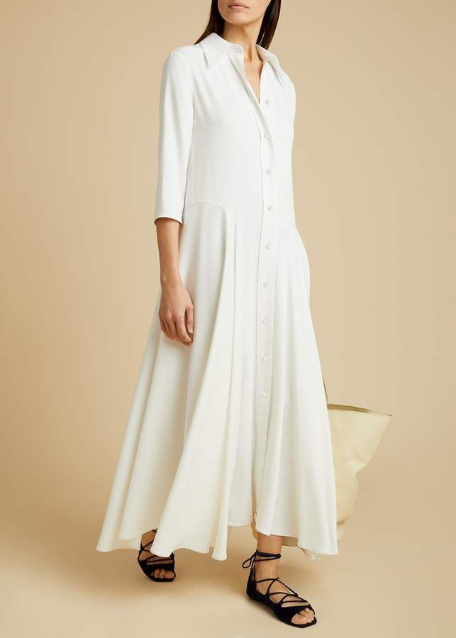The Katie Dress In Ivory Select Dress Dresses Classic Shirt Dress