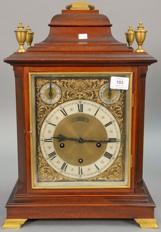 C. Grottendieck Bruxelles mahogany chime mantle clock ~ Realized price $ 1,380.00