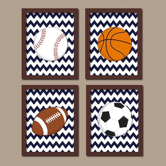 SPORTS Wall Art Boy CANVAS Nursery Kid Child Balls by TRMdesign