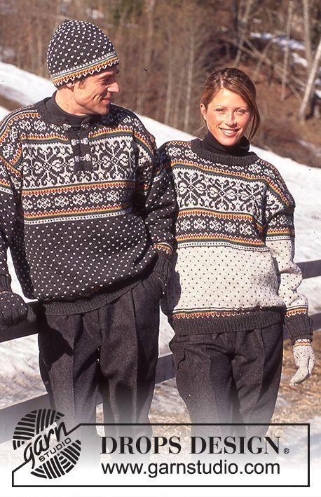 DROPS 52-18 - Jacquard Sweater DROPS Dames en Heren in Karisma. Motorkap en jacquards bijpassende handschoenen Karisma. - Gratis patroon bij DROPS Design