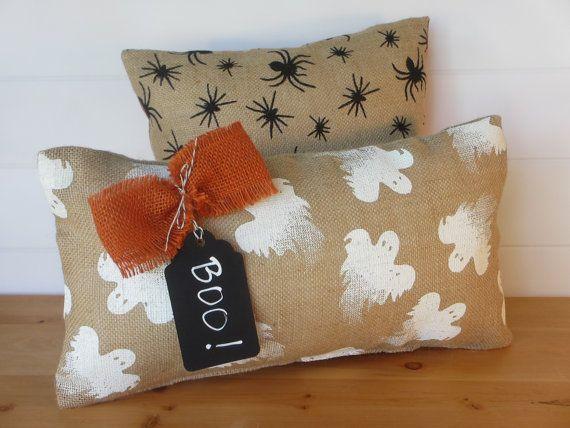 Burlap Halloween Pillows, Ghosts, Spiders, Halloween Decor, Chalkboard Tag, Halloween Holiday Decorative Throw Pillows, Holiday Cushions