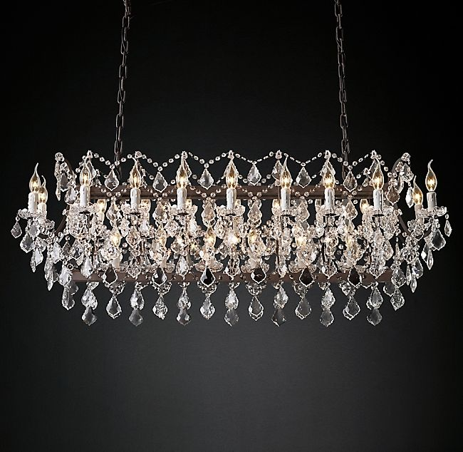 19th C Rococo Iron Crystal Rectangular Chandelier 63