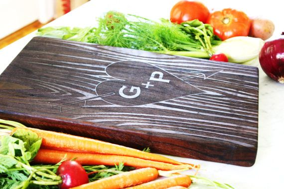 Personalized Cutting Board. Carved initials on tree, custom wedding present or engagement gift. Solid walnut.