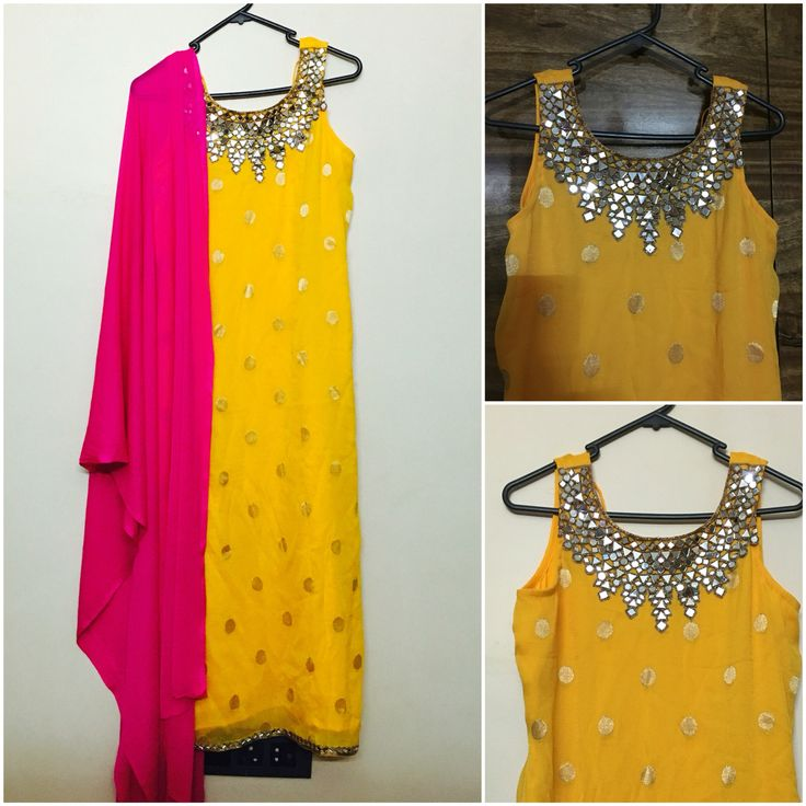Yellow jute net Kurti with gold polka dots and mirror work