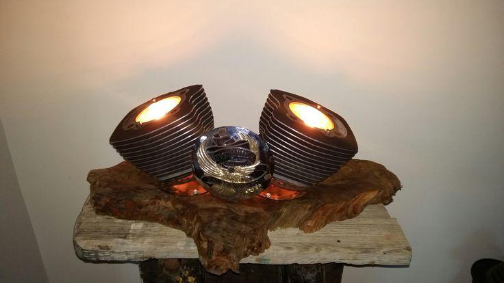 Harley Davidson lamp on kauri base