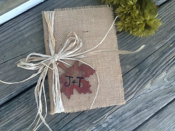 Personalized rustic wedding guest book, fall wedding, autumn wedding, country wedding book burlap wedding, shabby chic wedding book