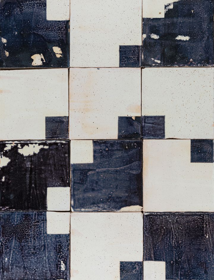 Squared ceramic wall tile