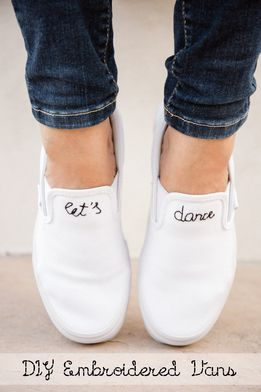 Feeling crafty? Make a pair of DIY Embroidered Slip-Ons!