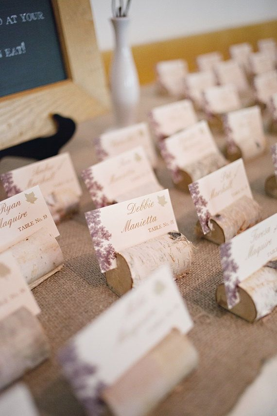 Rustic Birch Branch Place Card/Escort Card by TheLovelyGlassJar