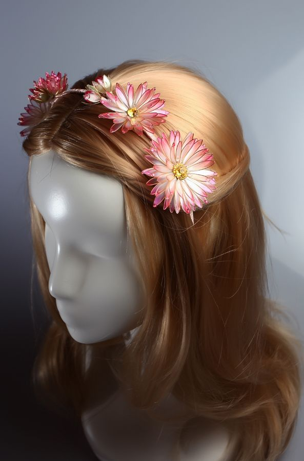 Transparent flower, Unusual jewelery for hair from Elena