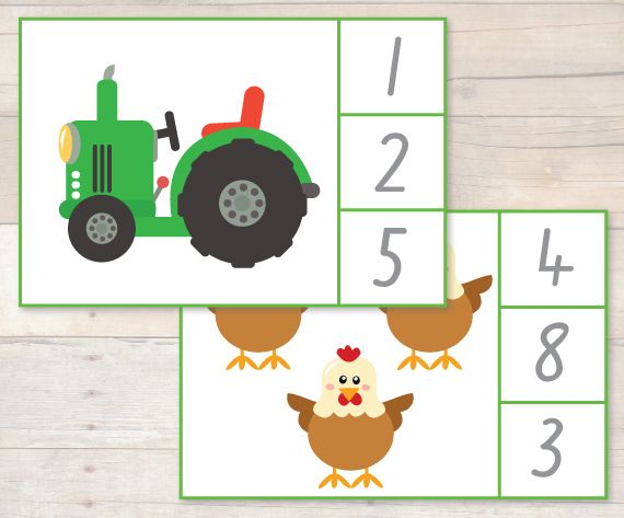 Free On the Farm Peg it Number Cards Busy Little Bugs