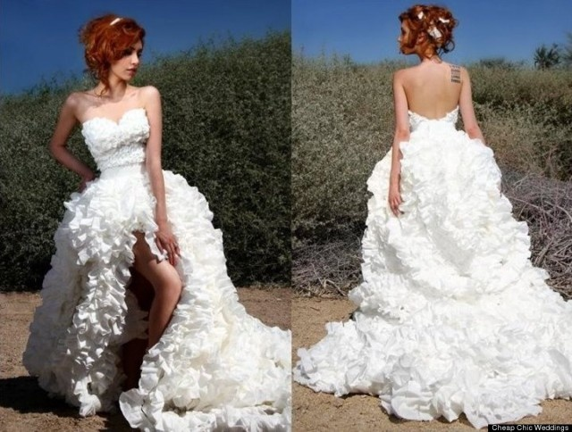 Wedding gown made of toilet paper by Susan Brennan    Read more at http://uniqpost.com/42399/unik-gaun-pengantin-terbuat-dari-tisu-toilet/