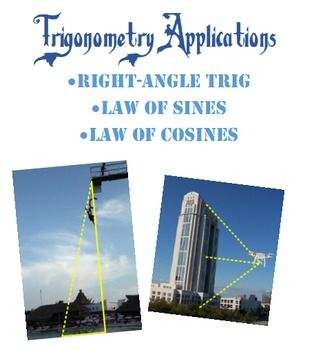 Engage your trig or pre-cal students with eleven well-written, interesting, thought-provoking, real-world questions.  Students must use their knowledge of right-angle trig (SOH-CAH-TOA), law of sines, and law of cosines in order to solve these problems.