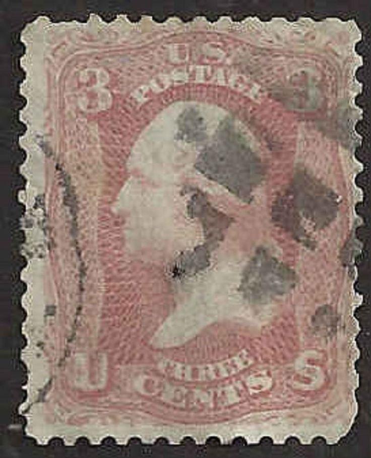 US 19th Century # 65 - 3¢  George Washington -  Bright Rose Used FAULT #AbvA