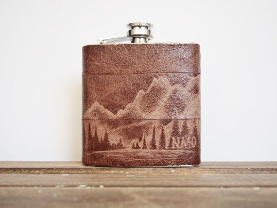 The Ranger Flask  Personalized initials Red Wood Tree   by HORD