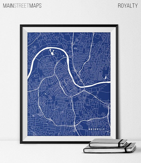 Nashville Map Art Print Nashville City Map of by MainStreetMaps