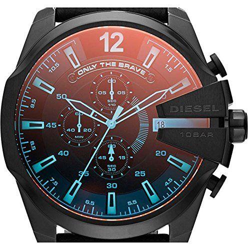 Diesel Herren-Armbanduhr XL Chronograph Quarz Leder DZ4323