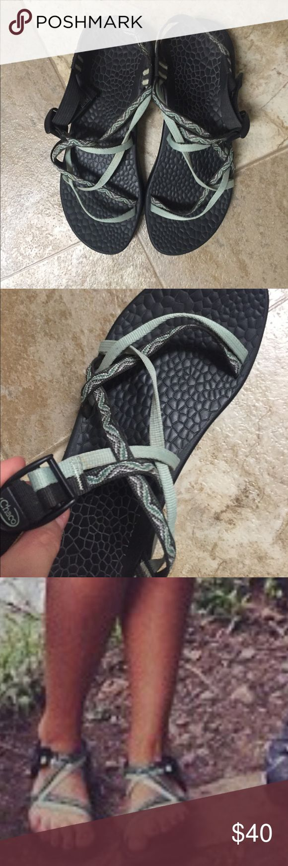 Black Chaco with green/light grey straps Only worn once!!! Perfect summer sandal Chacos Shoes Sandals