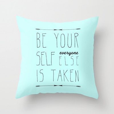 Decorative Pillow Cover Home Decor Light Blue Typography
