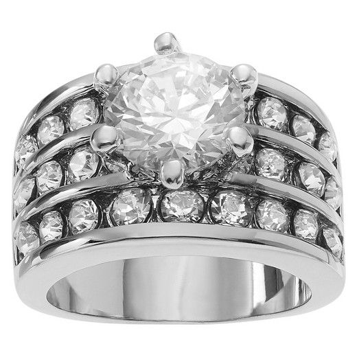 1 1/2 CT. T.W. Round-cut CZ Wide Band Engagement Basket Set Ring in Sterling Silver - Silver : Target