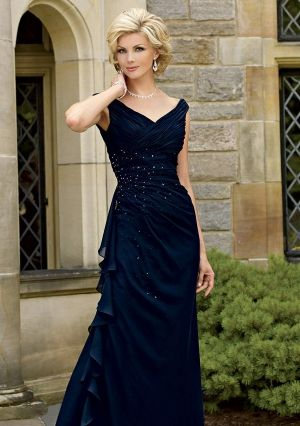 A-line V-neck Floor-length in Chiffon Mother of the Bride Dress