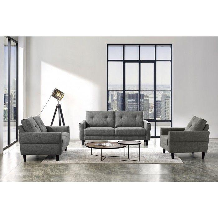 Divani Casa Clark Modern Grey Beige Fabric Sofa Set In 2020 Beige Fabric Sofa Sofa Set Modern Sofa Set