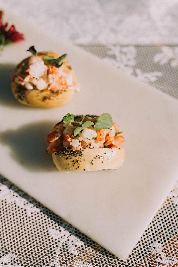 elle cuisine's Lobster Roll! East Coast lobster, bite-sized brioche roll, green apple, lemon and tarragon aioli!