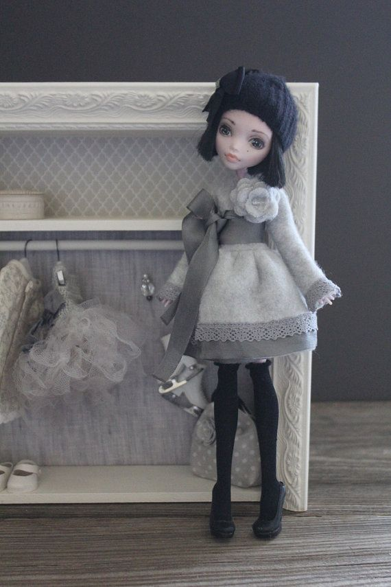 Wait, this is Monster High?! Wow...  --For Monster High. Grey Fleece Wrap Dress by FlorenceAndTaylor(Abi Monroe)