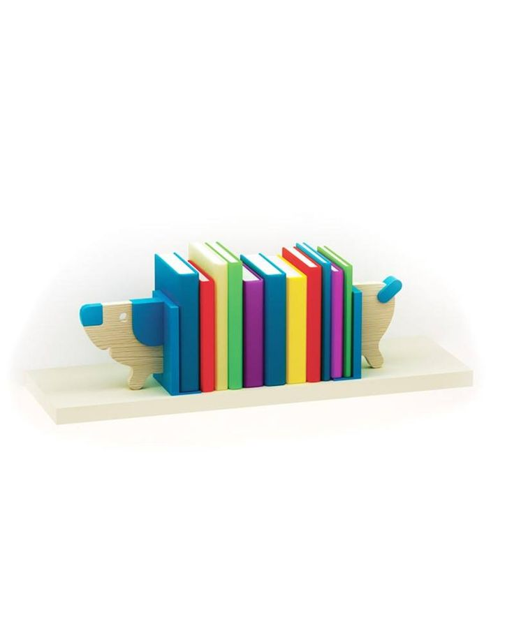 """The """"DOGGY"""" shelve is a real bookworm. It can be adjusted to fit as many books as needed. It's not only fun, it also helps your children to organize their books. An interesting addition to the collection."""