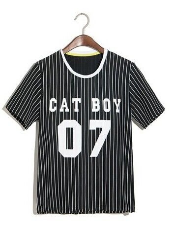 Trendy Striped Slimming Short Sleeve Round Collar Letters Print Cotton T-Shirt For Men Color: BLACK, WHITE Size: M, L, XL Category: Men > Men's T-Shirts & Vest   Material: Cotton  Sleeve Length: Short  Collar: Round Neck  Style: Fashion  #mensstripedtshirtblackandwhite #menstshirt #blackandwhite #tshirt #bridgat.com