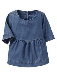 Stitched chambray top
