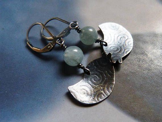 Bird earrings textured silver dangle earrings casual wear