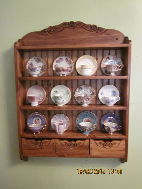 tea cup shelf 12 cup connoisseur edition by woodcraftqueen on Etsy, $375.00