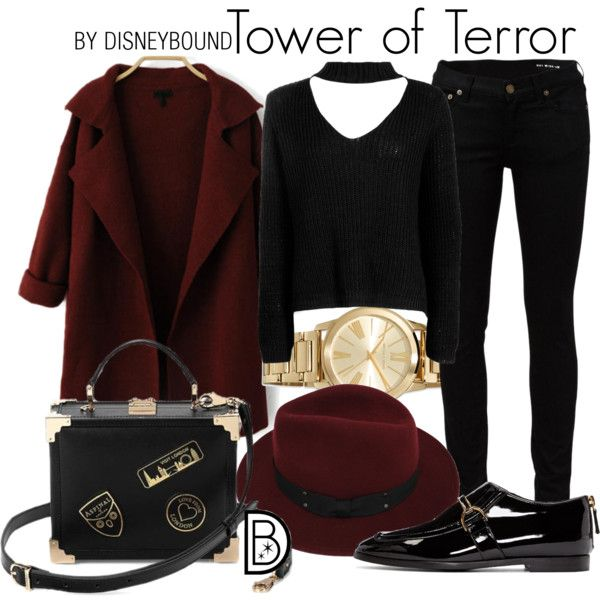 Tower of Terror by leslieakay on Polyvore featuring Boohoo, Yves Saint Laurent, STELLA McCARTNEY, MICHAEL Michael Kors, Sans Souci, Aspinal of London, disney, disneybound and disneycharacter
