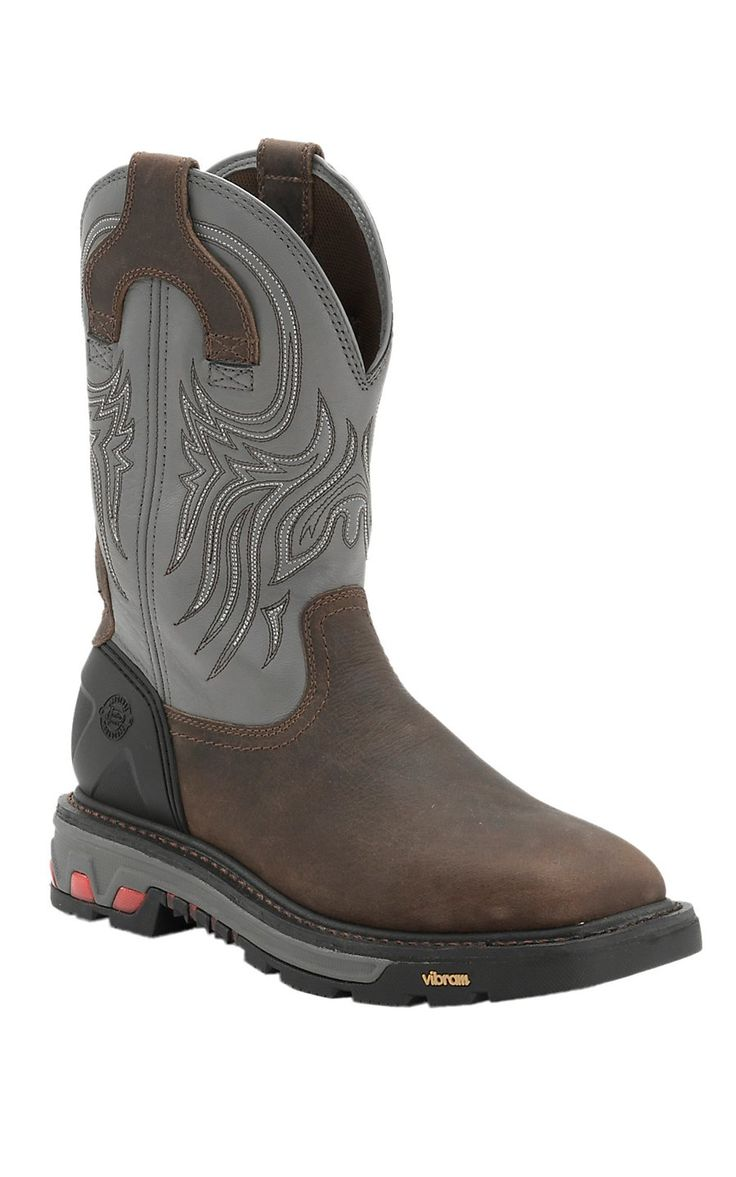 Justin Commander X5 Men's Timber Brown with Gunmetal Gray Top Square Steel Toe Pull On Work Boots | Cavender's