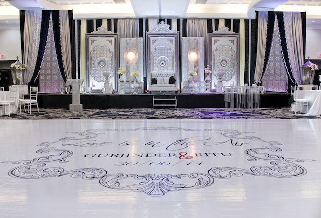 Versace dance floor for Indian reception by Spotlight Vendor @gpsdecors