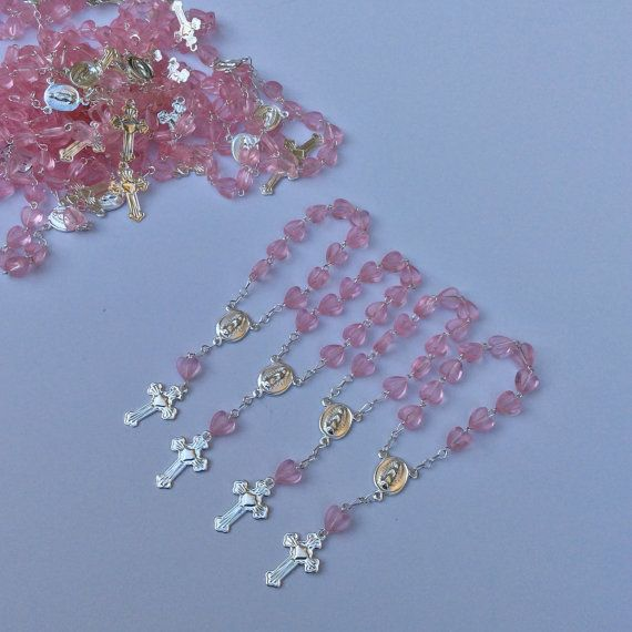 Mini rosaries perfect for baptism favors, approximately 4 long Available in pink/silver, white/gold and white/silver blue/gold blue /silver