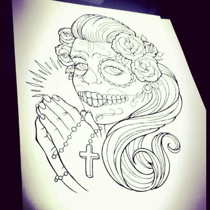 Gallery For gt Day Of The Dead Tattoo Stencil